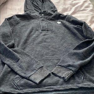 Abercrombie kids half zip w buttons and hood top